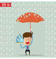Business cartoon holding umbrella for safety vector image