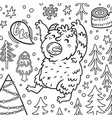 cartoon bigfoot or yeti growls in forest vector image vector image