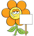 cartoon smiling flower holding a sign vector image vector image
