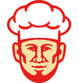chef cook beard toque hat retro vector image vector image