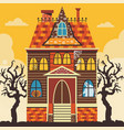 creepy halloween haunted house scene card template vector image vector image