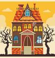 creepy halloween haunted house scene card template vector image vector image