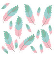 cute bohemian feathers pattern background vector image vector image