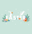 cute easter web banner with white rabbits vector image