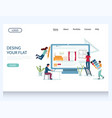 design your flat website landing page vector image vector image