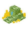 dollar bills pile stacked money green dollar vector image vector image