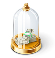 dollars under the glass dome vector image vector image