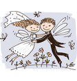 elves newlyweds vector image vector image