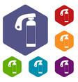 fire extinguisher icons set hexagon vector image vector image