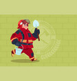 Fireman running with shovel and bucket uniform and vector image