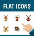 flat icon energy set of wind energy turbine vector image