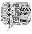 Galapagos Cruise Tour In Ecuador text background vector image vector image