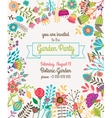Garden or summer party invitation template poster vector image