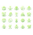 garden simple green line icons set vector image