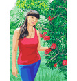 girl on the nature vector image