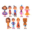 girls and boys dressed as fairytale heroes set vector image vector image