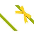 gold bow cartoon yellow bow and green ribbon vector image vector image