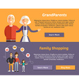 Grandparents and Family Shopping Flat Design vector image