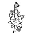 graphic flower pierced knife vector image vector image