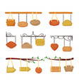 hanging wooden signboards banners set empty color vector image