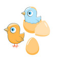 happy cartoon chickens vector image vector image