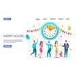 happy hours website landing page design vector image vector image