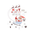 happy santa claus riding sleigh with helper vector image