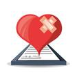 heart with look at medical diagnostic prescription vector image