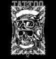 human skull in pilot helmet with decorative frames vector image vector image