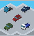 isometric car set of lorry suv car and other vector image vector image