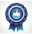like sign on glossy award icon vector image vector image