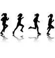 little girl running silhouettes vector image vector image