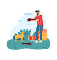 man camping holding firewood for campfire vector image vector image
