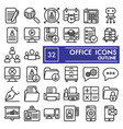 office line icon set workspace symbols collection vector image vector image