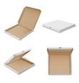 pizza carton boxes realistic mockups set open vector image vector image