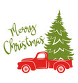 red pickup with christmas tree traditional vector image vector image