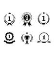 Set of black and white circular winner emblems vector image