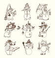 set winter holidays snowman in different vector image