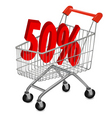 shopping cart with 50pr vector image vector image