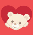 teddy bear peeking from heart valentines day card vector image vector image