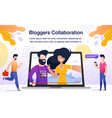 travel bloggers collaboration flat poster vector image vector image