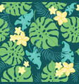 tropical yellow flowers seamless repeat pattern vector image vector image