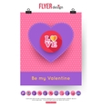 Valentines Day brochure template and set of flat vector image vector image