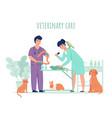 vet doctor with animals veterinarians work vector image vector image