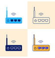 wifi router icon set in flat and line styles vector image