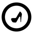 woman shoes icon black color in circle vector image