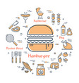 yellow round concept of tasty food-hamburger vector image vector image