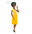 young african pregnant woman with speech bubble vector image vector image