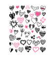 set of hand drawn heart symbols vector image