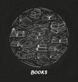 sketch books on blackboard vector image
